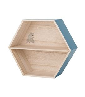 ESTANTERIA HEXAGONAL NATURAL/AZUL