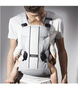 MOCHILA PORTABEBE ONE AIR BABYBJORN PLATA MESH - BABYBJORN-BABY-CARRIER-ONE-AIR-SILVER-MESH-