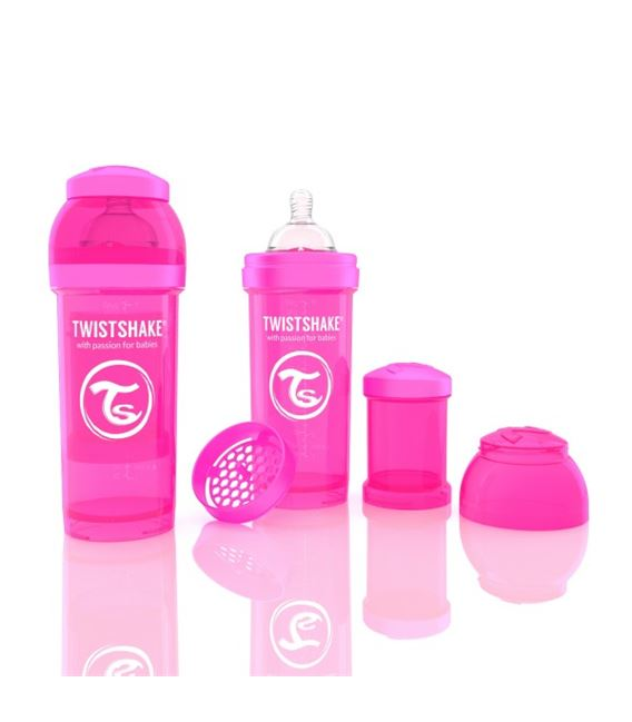 BIBERON TWISTSHAKE ANTICOLICO 260ML ROSA - 780071-600X600