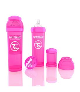 BIBERON TWISTSHAKE ANTICOLICO 330ML ROSA