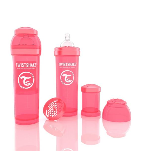 BIBERON TWISTSHAKE ANTICOLICO 330ML CORAL - 780331-600X600