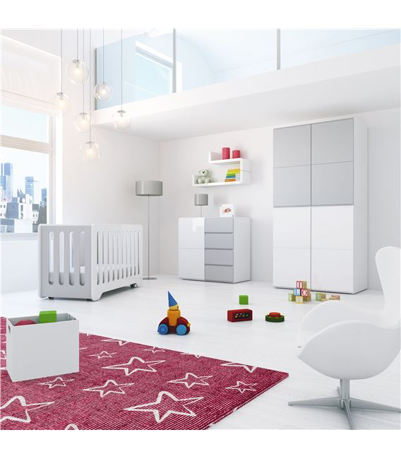 ARMARIO INFANTIL 4 MÓDULOS GRIS BRILLO - ROOM-MODULAR-A3014-G2314