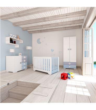 ARMARIO INFANTIL 2 PUERTAS 2 CAJONES CELESTE - ROOM-MATHS-MINI-A350-1417