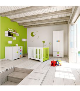 ARMARIO INFANTIL 2 PUERTAS 2 CAJONES MULTICOLOR 2 - ROOM-MATHS-MINI-A350-2351
