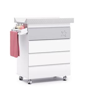 Mueble-bañera-cambiador con ruedas gris 1
