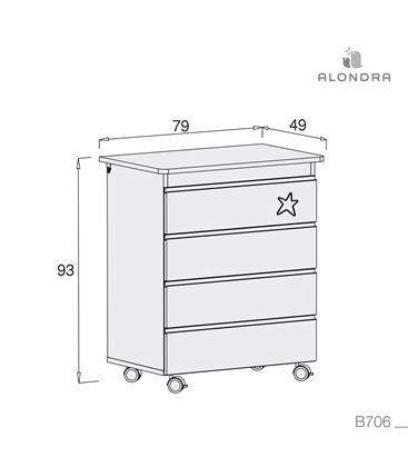 Mueble-bañera-cambiador con ruedas gris 1 - B706-TECH