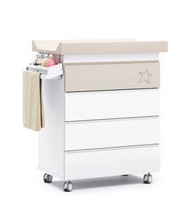 Mueble-bañera-cambiador con ruedas beige 1