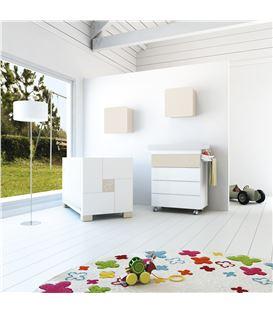 Mueble-bañera-cambiador con ruedas beige 1 - SEMI-CLIP-B706-G2315