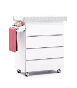 Mueble-bañera-cambiador con ruedas blanco 2