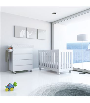 Mueble-bañera-cambiador con ruedas blanco 2 - SEMI-KURVE-B717-M7700