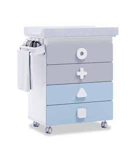Mueble-bañera-cambiador con ruedas celeste - B750-1417