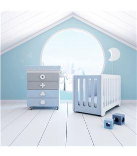 Mueble-bañera-cambiador con ruedas celeste - SEMI-MATHS-B750-1417