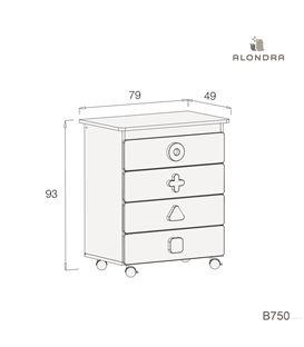 Mueble-bañera-cambiador con ruedas blanco 3 - B750-TECH