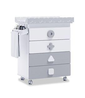 Mueble-bañera-cambiador con ruedas gris 2