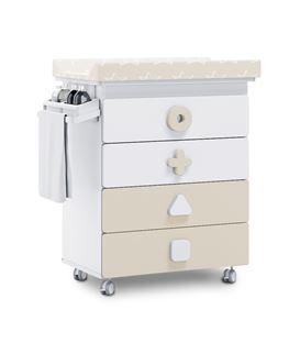 Mueble-bañera-cambiador con ruedas beige 2 - B750-2315