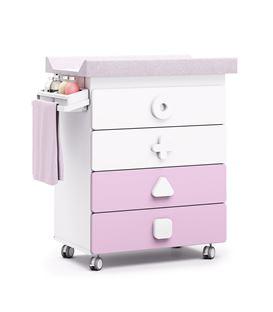 Mueble-bañera-cambiador con ruedas rosa