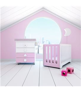 Mueble-bañera-cambiador con ruedas rosa - SEMI-MATHS-B750-G2318