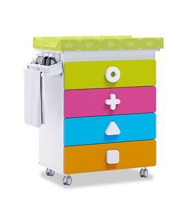 Mueble-bañera-cambiador con ruedas multicolor 1