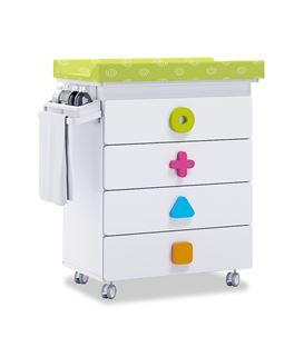 Mueble-bañera-cambiador con ruedas multicolor 2