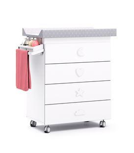 Mueble-bañera-cambiador con ruedas blanco 4 - B754-M7700