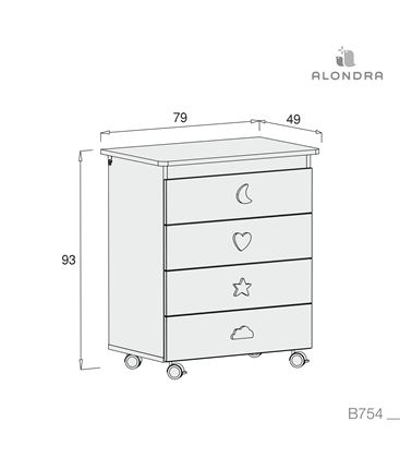 Mueble-bañera-cambiador con ruedas blanco 4 - B754-TECH
