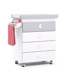 Mueble-bañera-cambiador con ruedas gris 3