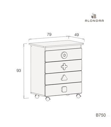 Mueble-bañera-cambiador con ruedas beige 2 - B750-TECH