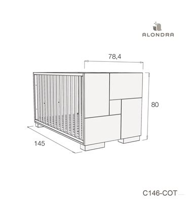 CUNA - CAMA - ESCRITORIO CLIP 70X140 CM BLANCO BRILLO - C146-TECH-COT