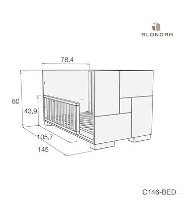 CUNA - CAMA - ESCRITORIO CLIP 70X140 CM BLANCO BRILLO - C146-TECH-BED