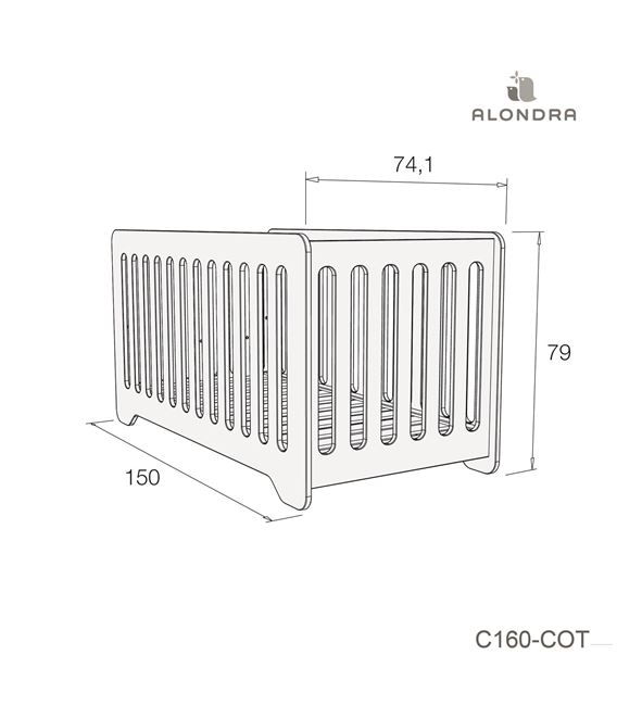 CUNA - CAMA C160 70X140 CM GRIS BRILLO - C160-TECH-COT