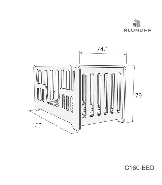CUNA - CAMA C160 70X140 CM GRIS BRILLO - C160-TECH-BED