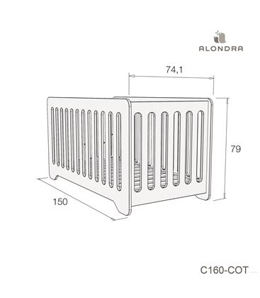CUNA - CAMA C160 70X140 CM CELESTE BRILLO - C160-TECH-COT