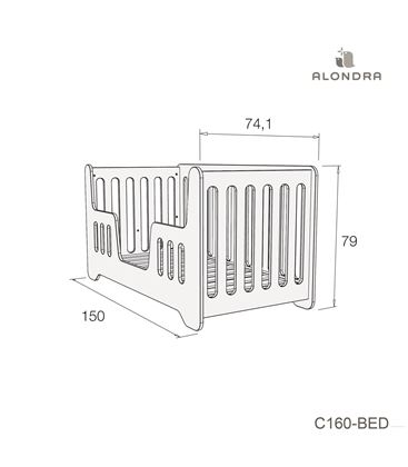 CUNA - CAMA C160 70X140 CM CELESTE BRILLO - C160-TECH-BED