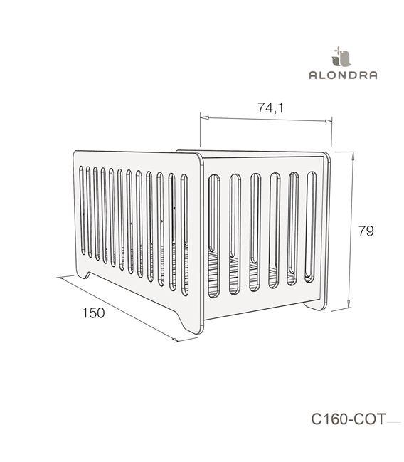CUNA - CAMA C160 70X140 CM GRIS MATE - C160-TECH-COT