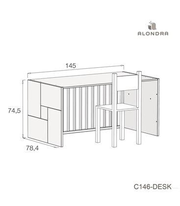 CUNA - CAMA - ESCRITORIO CLIP 70X140 CM BLANCO BRILLO - C146-TECH-DESK