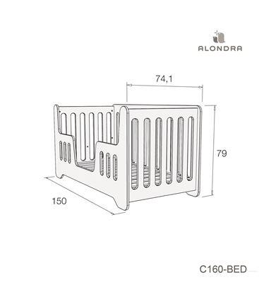 CUNA - CAMA C160 70X140 CM GRIS MATE - C160-TECH-BED