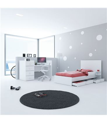 CUNA CONVERTIBLE JUST BUBBLE BLANCO - K374-M7700-DISM-DRAWERS-OPEN