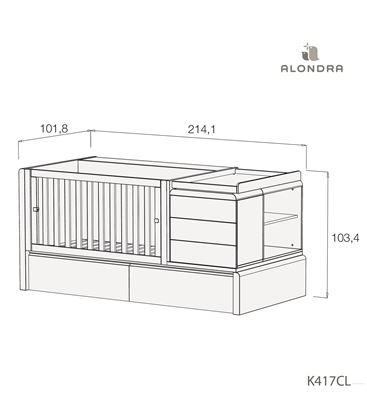 CUNA CONVERTIBLE KURVE PREMIUM CON CAJONES MADERA - K417CL-TECH