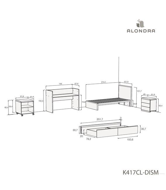 CUNA CONVERTIBLE KURVE PREMIUM CON CAJONES MADERA - K417CL-TECH-DISM