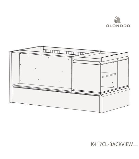 CUNA CONVERTIBLE KURVE PREMIUM CON CAJONES MADERA - K417CL-TECH-BACKVIEW