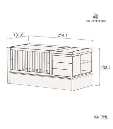 CUNA CONVERTIBLE KURVE PREMIUM CON CAMA NIDO MADERA - K417NL-TECH