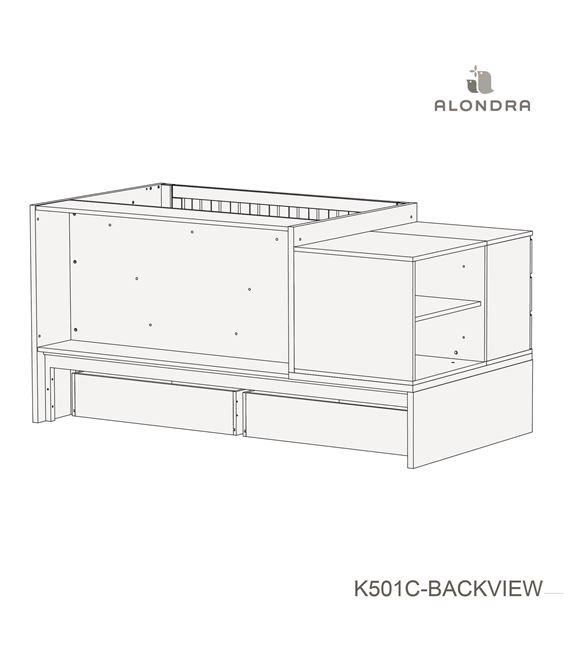 CUNA CONVERTIBLE NEO MODULAR BLANCO BRILLO CON CAJONES - K501C-TECH-BACKVIEW