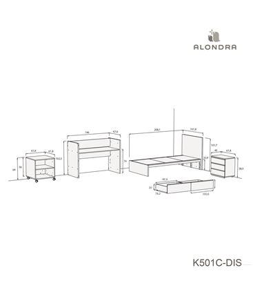 CUNA CONVERTIBLE NEO MODULAR BLANCO BRILLO CON CAJONES - K501C-TECH-DISM