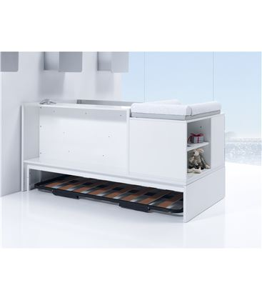 CUNA CONVERTIBLE NEO MODULAR BLANCO BRILLO CON NIDO - K501N-BACKVIEW