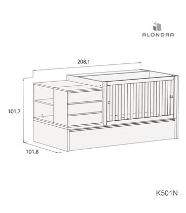 CUNA CONVERTIBLE NEO MODULAR BLANCO BRILLO CON NIDO - K501N-TECH