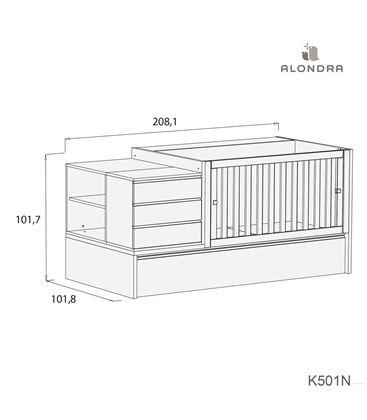CUNA CONVERTIBLE NEO MODULAR GRIS BRILLO CON NIDO - K501N-TECH