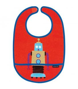 PVC COATED COTTON BIB RED - BIB-RED-GLITTERING-LES-ROBOTS