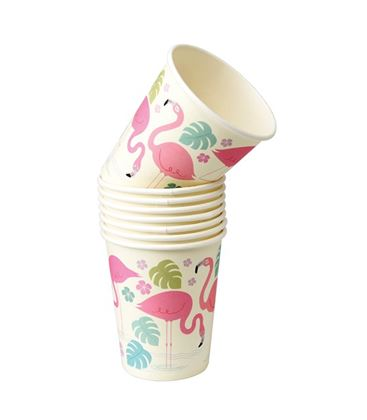 PACK 8 VASOS DE PAPEL FLAMINGO BAY - PACK-8-VASOS-FLAMINGO-BAY