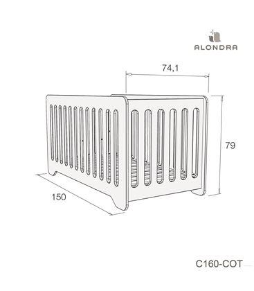 CUNA - CAMA BEBÉ C160 70X140 CM VERDE MATE - C160-TECH-COT