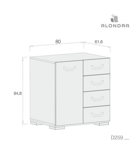 CÓMODA JOY BLANCO - D259-TECH